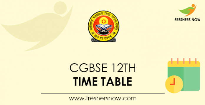 CGBSE 12th Time Table