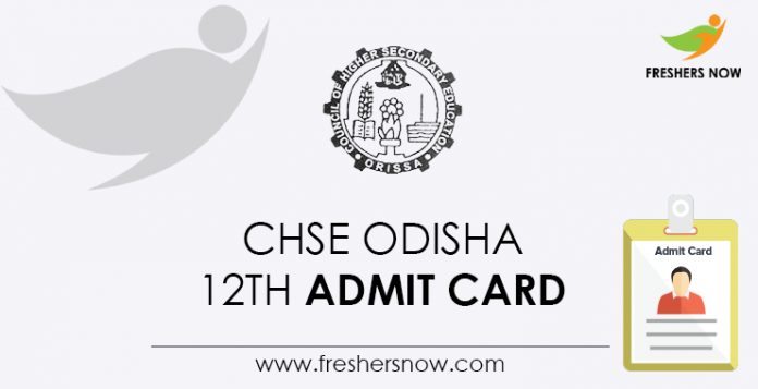 CHSE Odisha 12th Admit Card