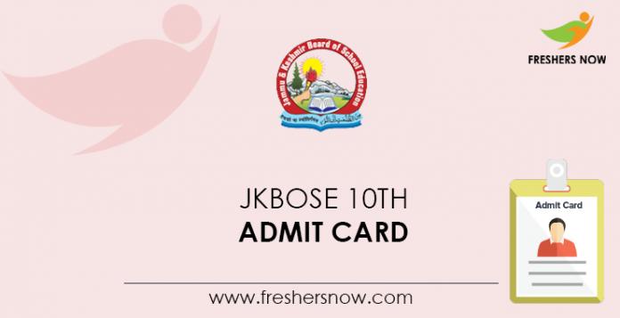 JKBOSE 10th Admit Card