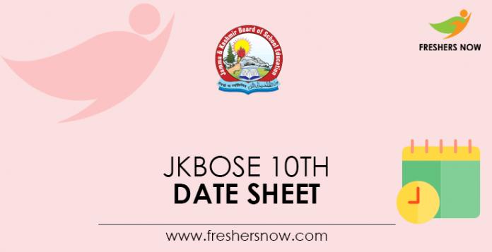 JKBOSE 10th Date Sheet
