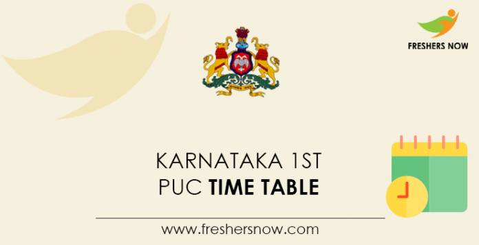 Karnataka 1st PUC Time Table