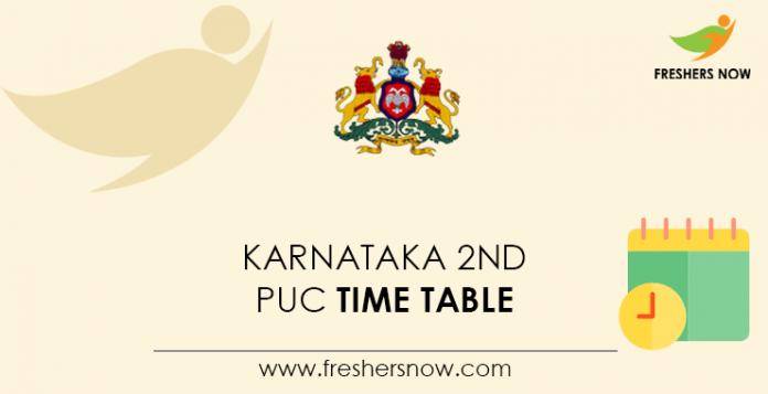 Karnataka 2nd PUC Time Table