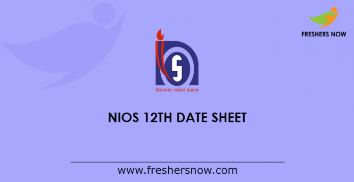 NIOS 12th Date Sheet