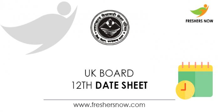UK Board 12th Date Sheet