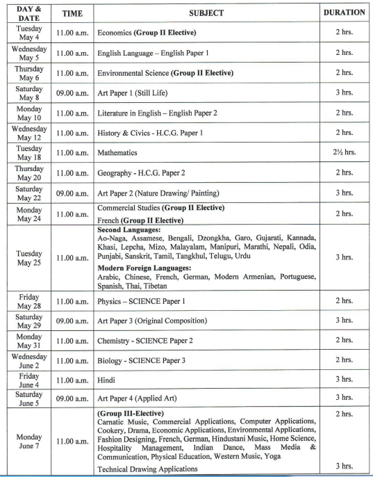 ICSE 10th Revised Time Table