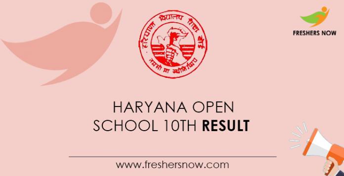 Haryana Open School 10th Result