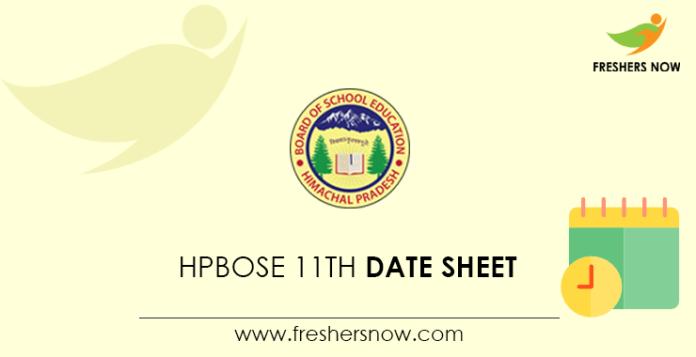 HPBOSE 11th Date Sheet