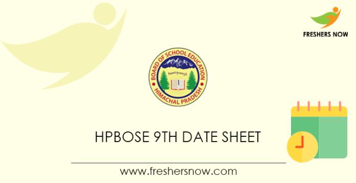 HPBOSE 9th Date Sheet